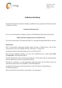 Stellenausschreibung - Max Planck Institute for the Study of Religious ...