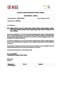 Sub: Listing of further issues of Granules India Limited, Hinduja ... - NSE
