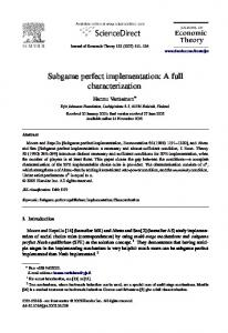 Subgame perfect implementation - Science Direct