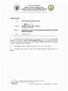 Submission of List of Non-Teaching Personnel for Drug Testing ...