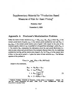 "Supplementary Material for ""Production-Based Measures of Risk for ..."
