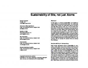 Sustainability of Bits, not just Atoms - Semantic Scholar