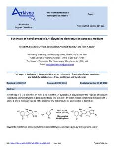 Synthesis of novel pyrazolo[3,4-b]pyridine derivatives in ... - Arkivoc
