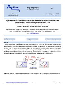 Synthesis of sulfanylidene-diazaspirocycloalkanones in a ... - Arkivoc