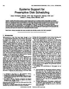 Systems Support for Preemptive Disk Scheduling - Research