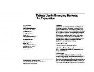 Tablets Use in Emerging Markets: An Exploration