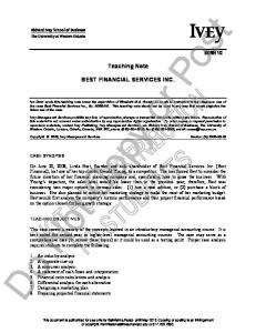 Teaching Note BEST FINANCIAL SERVICES INC. -