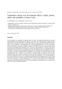 Temperature during seed development affects weight ...