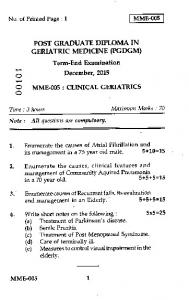 Term-End Examination December, 2015 MME-005 : CLINICAL ...
