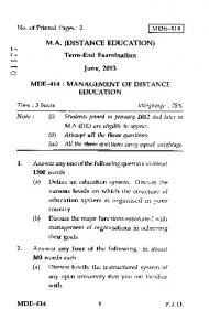 Term-End Examination June, 2013 MDE-414