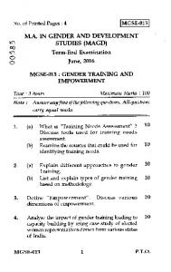 Term-End Examination June, 2016 MGSE-013 : GENDER TRAINING ...