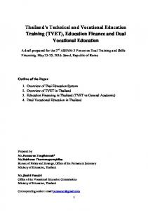 Thailand's Technical and Vocational Education ...