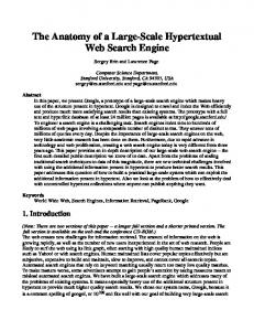 The Anatomy of a Search Engine - Stanford InfoLab - Stanford University