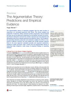 The Argumentative Theory: Predictions and Empirical ... - Cell Press