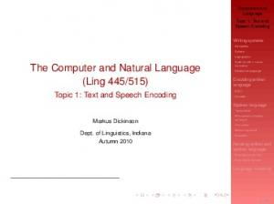 The Computer and Natural Language (Ling 445/515 ...