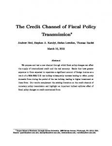 The Credit Channel of Fiscal Policy Transmission
