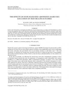 The Effects of State-Mandated Abstinence-Based ... - Semantic Scholar