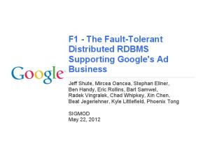 The Fault-Tolerant Distributed RDBMS Supporting Google's Ad Business