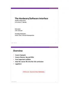 The Hardware/Software Interface Overview - University of Washington