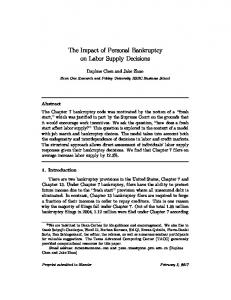 The Impact of Personal Bankruptcy on Labor Supply ... - SSRN papers