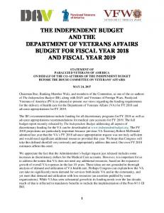 the independent budget and the department of veterans affairs ... - DAV