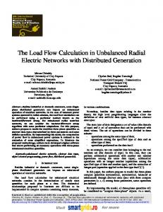 The Load Flow Calculation in Unbalanced Radial Electric Networks ...