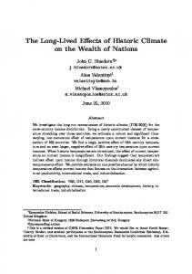 The Long-Lived Effects of Historic Climate on the Wealth of Nations