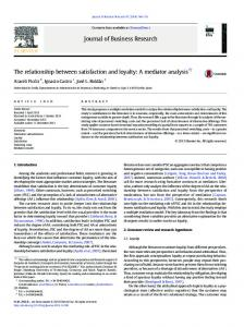 The relationship between satisfaction and loyalty: A mediator analysis