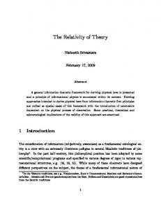 The Relativity of Theory