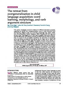 The retreat from overgeneralization in child ... - Wiley Online Library