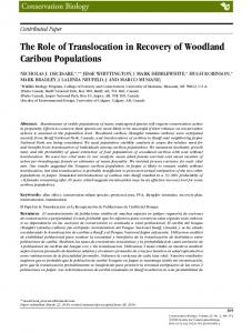 The Role of Translocation in Recovery of ... - Wiley Online Library