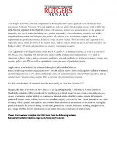 The Rutgers University Newark Department of Political Science seeks ...