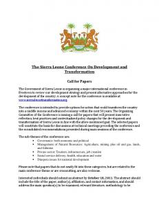 The Sierra Leone Conference On Development and ... -