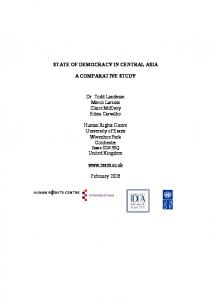 The State of Democracy in Central Asia: A Comparative ...