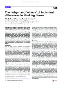The 'whys' and 'whens' of individual differences in ...