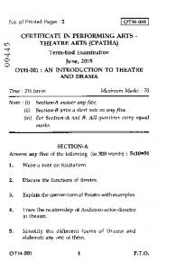 THEATRE ARTS (CPATHA) SECTION-A Answer any five of the following