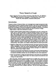 Theory Research at Google