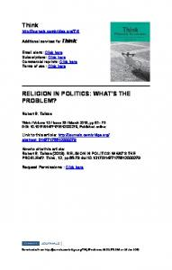 Think RELIGION IN POLITICS: WHAT'S THE PROBLEM?