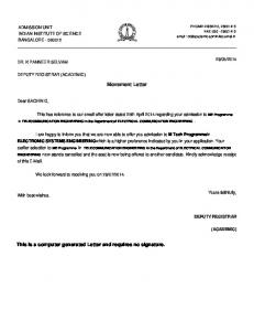 This is a computer generated Letter and requires ... -