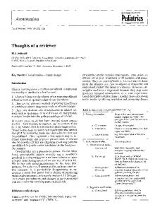Thoughts of a reviewer - Springer Link