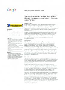 Through AdWords for Mobile, Regtransfers ...  Services
