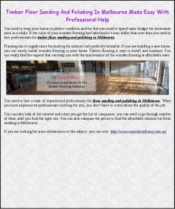 Timber Floor Sanding And Polishing In Melbourne Made Easy With ...