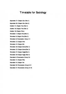 Timetable for Sociology