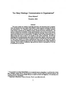 Too Many Meetings: Communication in Organizations