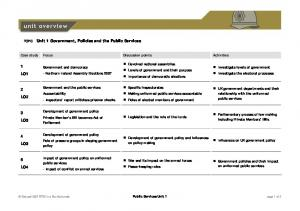 TOPIC Unit 1 Government, Policies and the Public ...