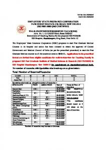 Total Number of ReservedVacancies - Esic