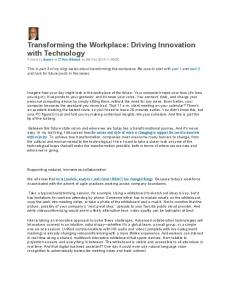 Transforming the Workplace: Driving Innovation with ... - Media15