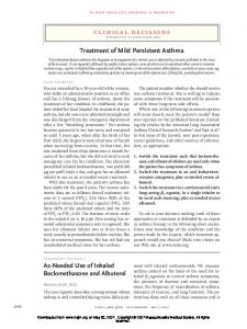 Treatment of Mild Persistent Asthma