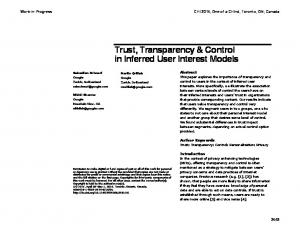 Trust, Transparency & Control in Inferred User ... - ACM Digital Library