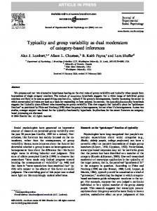 Typicality and group variability as dual moderators of ...